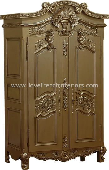 Rococo French Armoire Wardrobe In Antique Gold